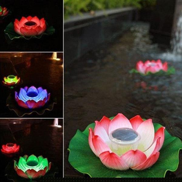 Impermeabile Solar Floating LED Lotus luce RGB Cambiare colore fiore Lampada da notte per stagno Piscina decorazione del giardino