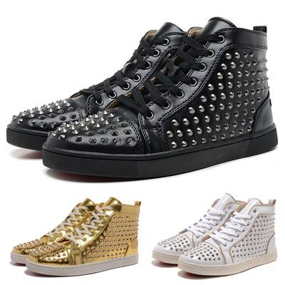 top quality 5 styles high-top boots studded studs shoes red solid spikes men flat genuine leather sneakers rivets bottom shoes cheap sale