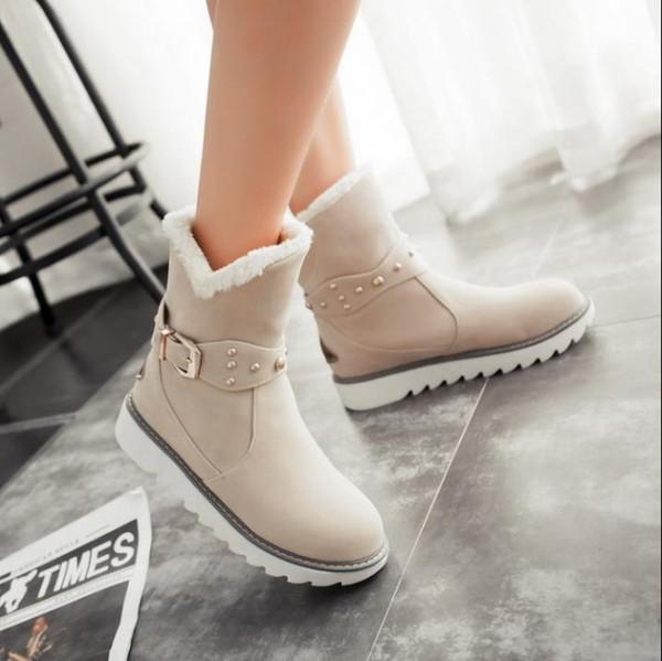 Quente faux fur botas de neve à prova d 'água mulheres inverno moda ankle boots tamanho grande preto marrom bege cor dropshipping