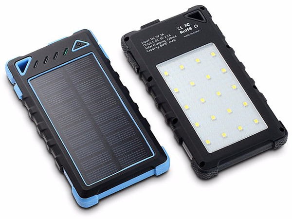 Factory wholelsae Waterproof Solar Charger 8000mAh with 20 LED lights,Super Solar Power Bank charger Dual USB Port For mobile Phone/tablets