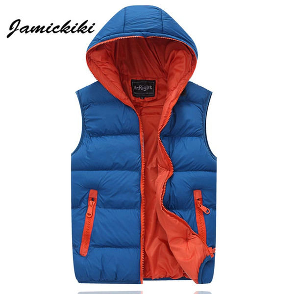 fall-2016 winter brand-clothing chaleco hombre mens down veste coat thick warm hooded waistcoat slimfit colete masculino