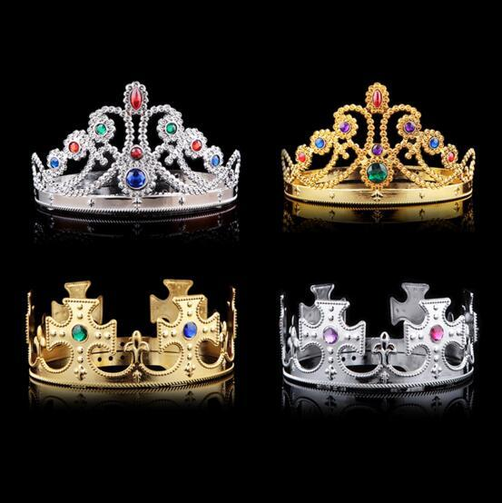 4 styles Christmas girl boy Cosplay King and Queen hairbands with crystals gold silver kids Christmas Cosplay Crown Hair Accessory