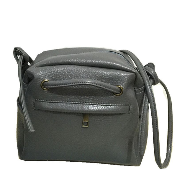 Wholesale-Size 21*19*8 cm Gray Black Color Washed Leather Women Messenger Bags Casual Handbag High Quality Crossbody Bag Simple Style