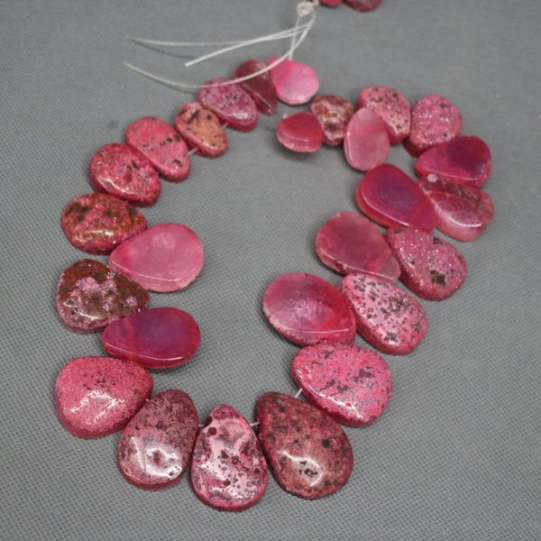 28pcs Natural Red Druzy Agate Slab Gemstone Beads, Energy Reiki Gems Women Slice Jewelry Necklace Pendant Drusy Druzy Waterdrop Shape