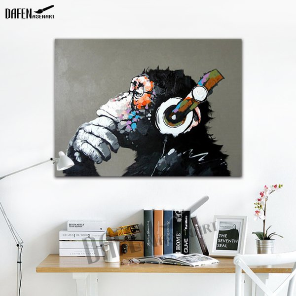 best selling Gorilla Listening To The Music - 100% Handmade Oil Painting On Canvas Funny Cartoon Animal Wall Unframe Bedroom Decoration