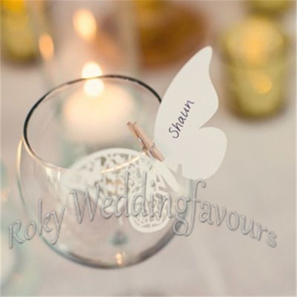 Free Shipping 50PCS Laser Cut Pearl Paper Place Name Cards Butterfly Wedding Party Supplies Glass Decoration Place Name Card