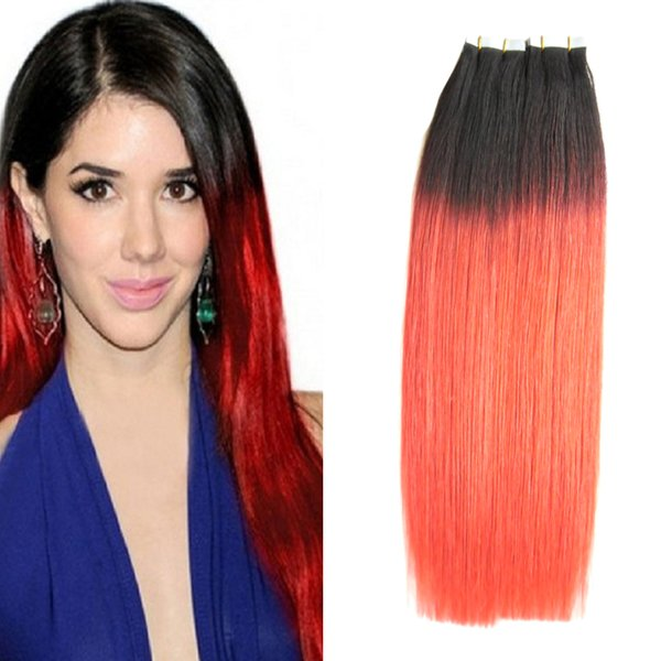 Ombre Tape in Human Hair Extensions straight T1B/RED two tone ombre human hair 100g 40pcs/lot skin weft tape hair extensions