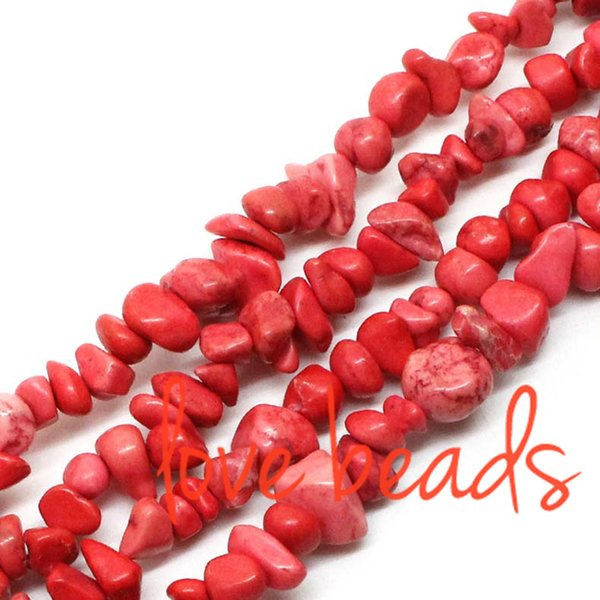 5mm-8mm Freeform Gravel Light Red Natural Turquoise Chips Loose Beads Irregular Strand 80CM For wholesale (F00364) wholesale
