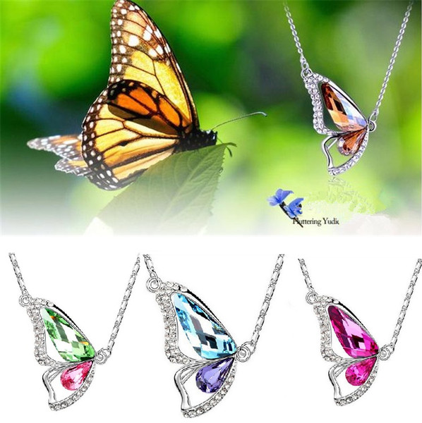 top popular New S925 Korean dancing butterfly pendant crystal pendant necklaces boutiques foreign trade sources women jewelry 2337-8 2019