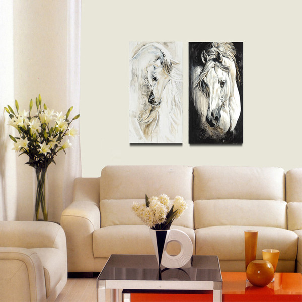 Unframed Black and White Painting Wall Pictures 2 pcs Modern Canvas Paintings White Horse Abstract Printed Painting For Living Room Decor