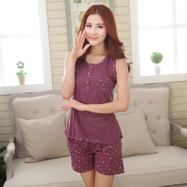 Chaleco de verano sin mangas de alta calidad al por mayor de las mujeres del chaleco pijama de algodón conjunto moda casual más tamaño M-XXXL pijama feminino mujer