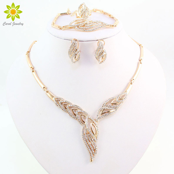 New Arrival Fashion 18K Gold Plated Clear Crystal Necklace Bracelet Earrings Ring Wedding African Jewelry Sets
