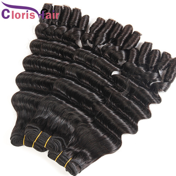 Loose Deep Wave Nigeria Aunty Funmi Hair Extensions Unprocessed Bouncy Curly Malaysian Virgin Hair Bundles Spiral Romance Curls Weave