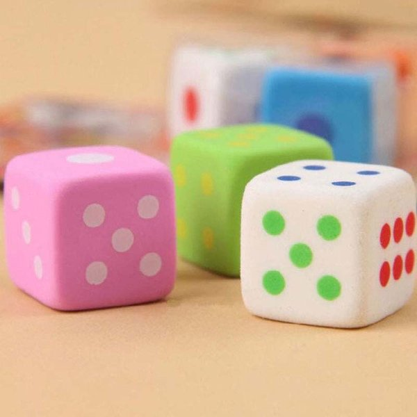 Free Shipping 10pcs/lot Dice Shape Cute Pencil Eraser Rubber Novelty Kids School Stationery Gift Student Fashion Children Prize
