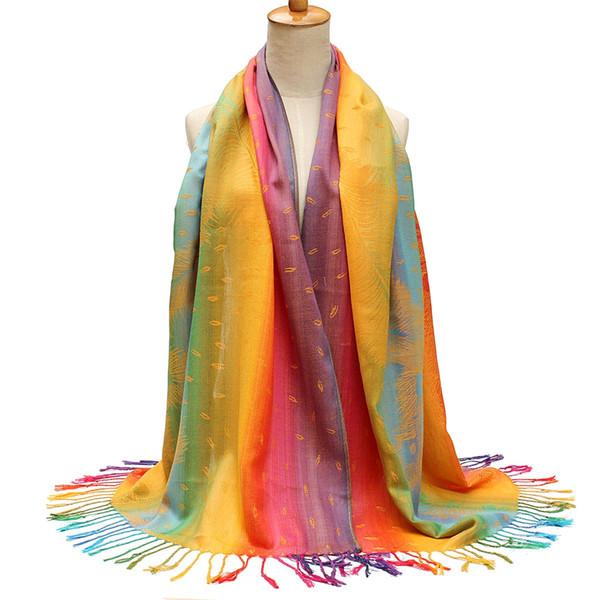 Nuovo 176 centimetri Retro Sciarpa stampata Stile popolare donne lunghe sciarpe della Boemia Vintage nappa morbido femminile scialle spiaggia sciarpa frange