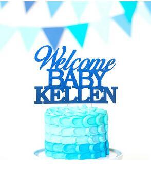 Custom Acrylic Welcome Baby Reveal Baby Gender Custom Name Gold Bless Christening Cake Toppers Happy Birthday wedding party decorations
