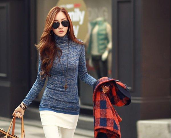 Fashion Autumn slim knittwear Women turtle neck pullover Autumn long sleeve knit shirt 2 colors