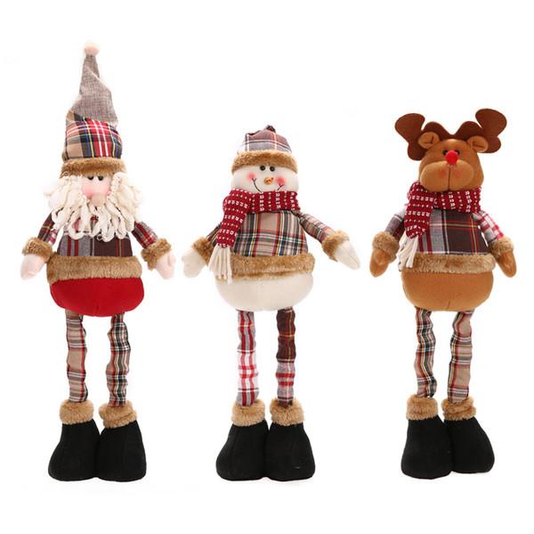 Hot Sale Telescopic Santa Claus Snowman Reindeer Doll Christmas Decoration Xmas Tree Hanging Ornaments Pendant Best Self Gift