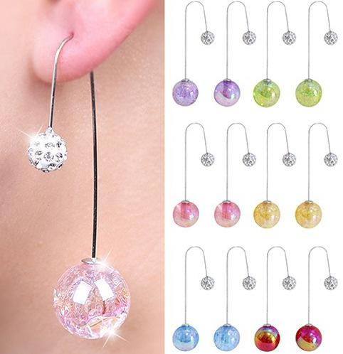 New Brand Hot Women's 2 Sides Ball Translucent Crack Faux Pearl Long Dangle U Hook Earrings