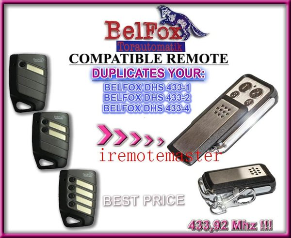 Compatible remote for Belfox DHS 433-1,Belfox 433-2,Belfox 433-4 replacement remote control free shipping