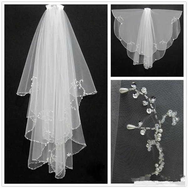 2016 New Fashion White Ivory Short Two Layers With Comb Bridal Veils Wedding Accessories Beaded Edge Crystal Fashion Free Shipping