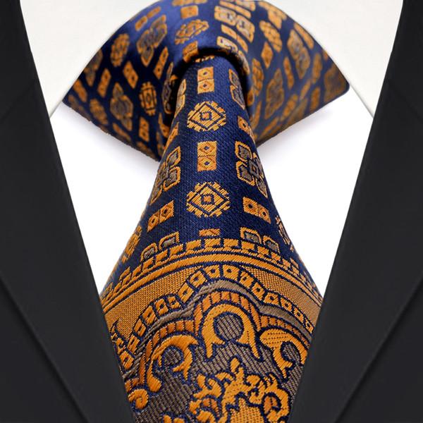 Spedizione gratuita F22 Multicolor Marrone Oro Giallo Blu Navy Floral Mens Cravatte Cravatte 100% seta Tie Sets Hanky Jacquard Tessuto