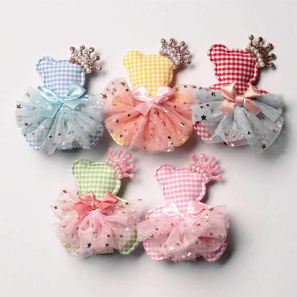 New Princess Baby Girls Character Bears Shape Hair Clips Glitter Felt Crown Hair Bows Pink Gauze Ribbon Bowknot 20pcs Hairpins