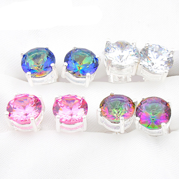 Mix 4Pairs Wholesale Wedding Gift Fire Round Mystic Topaz Pink White Cubic Zirconia 925 Sterling Silver Stud Earrings