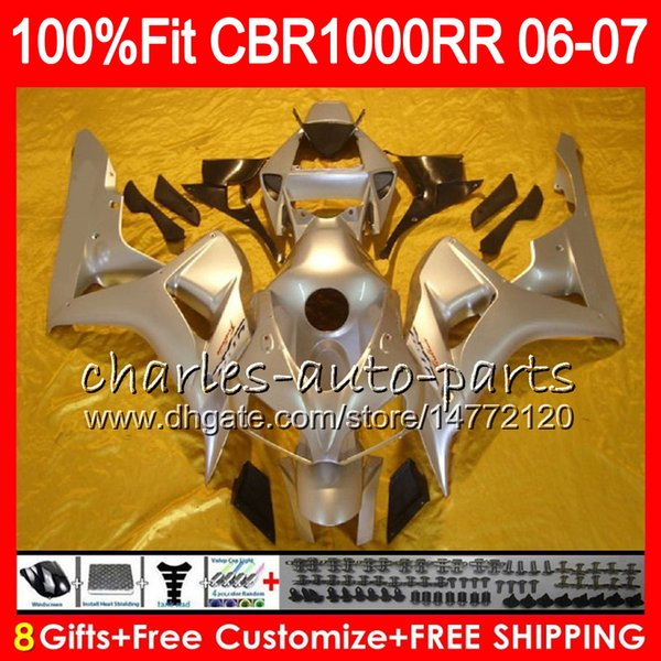 Glossy Silver Injection Body For HONDA CBR 1000RR CBR1000 RR 06 07 Bodywork 78NO9 CBR1000RR 06 07 CBR 1000 RR 2006 2007 Fairing kit 100% Fit