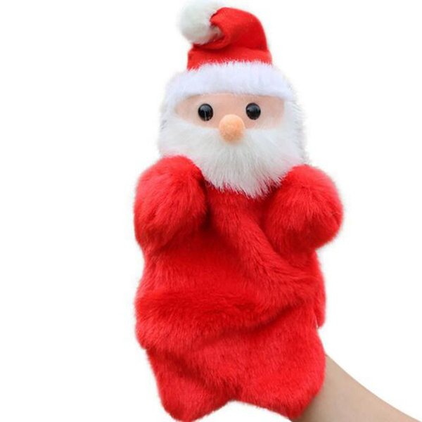 New Cute Christmas Hand Puppet Dolls Toys 27CM Santa Stuffed Dolls Storytellin Finger Even Hand Puppet For Baby Gifts