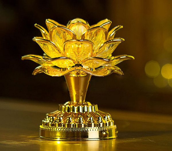 top popular Gold Battery Buddha Music Speaker Light Flower Fancy Colorful Changing LED Lotus Flower Romantic Wedding Decoration Party Lamp AC85V-250V 2021