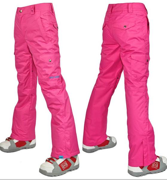 Womens hot pink ski pants female rose red snowboarding skiing pants winter  sports trousers waterproof 10K 1134bffe9