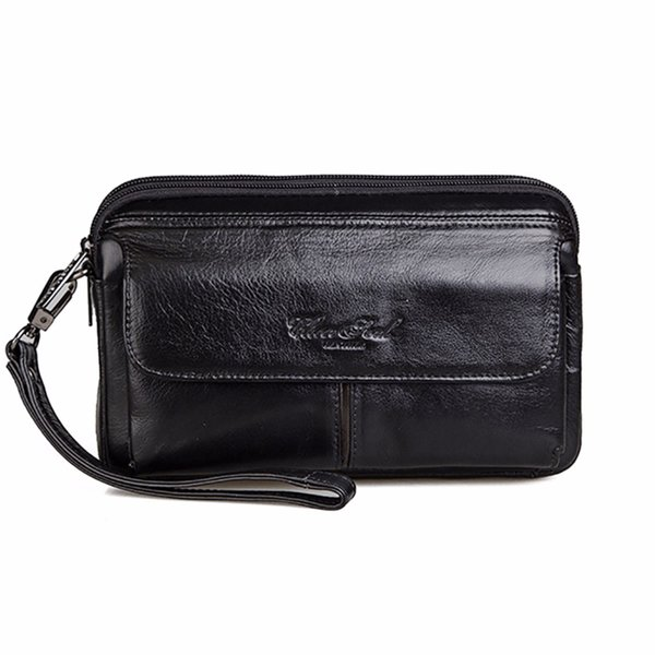 Wholesale- High Quality Genuine Leather Cowhide Men Hand Bags Casual Business Clutch Bag Mobile Phone Case Cigarette Wallet Purse Pouch New