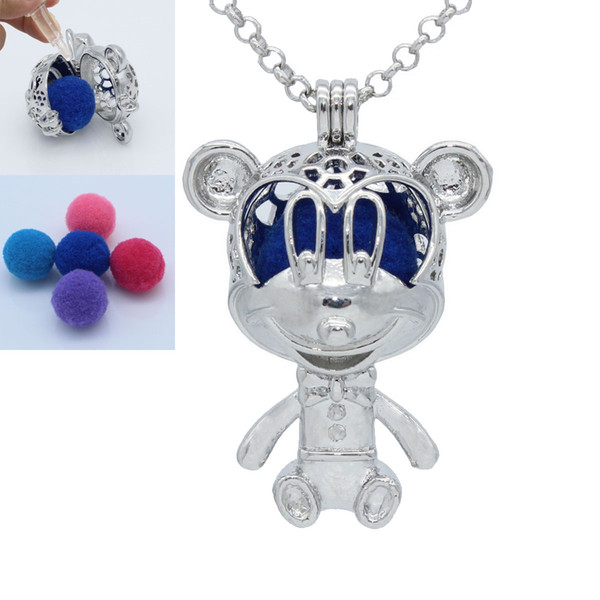 Silver Tone Cute Mouse Hollow Floating Locket Essential Oil Aromatherapy Diffuser Openable Pendant Chain Necklace Jewelry Charms Gift