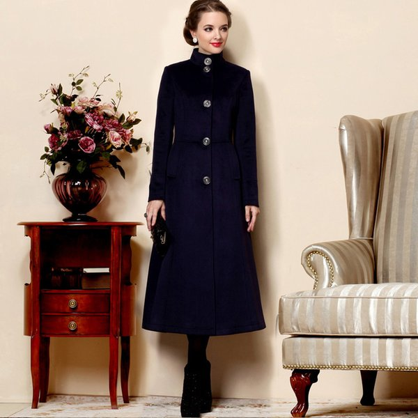 women trench coat 2017-2018 winter woman navy blue coats slim maxi warm long jacket casual trench coat female cold outwear