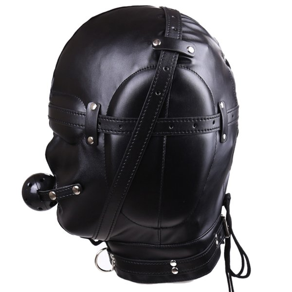 BDSM Bondage Mask Soft Leather Hood Headgear In Adult Games For Couples,Fetish Erotic Sex Products Flirt Toys For Women And Men