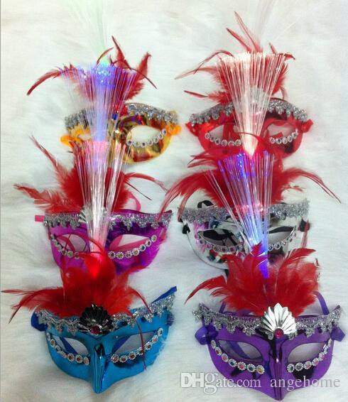 vente en gros masques de parti de plumes LED masque masque de plume avec danse légère dessin coloré masque vénitien Halloween masques