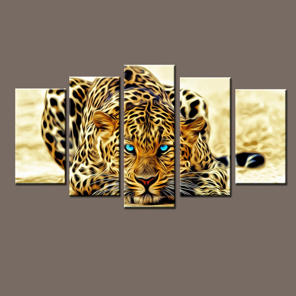 Modern Modular Paintings on Canvas Art Panel of Cheetah Leopard 5 Piece Canvas Art Photo Wall Pictures for Living Room