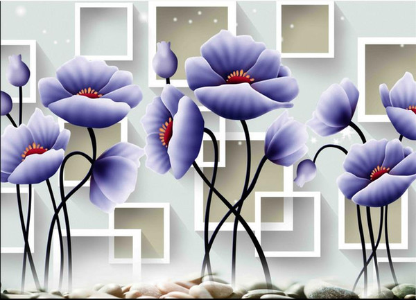 wallpaper for walls 3 d for living room Hand painted blue tulips wall papers home decor designers