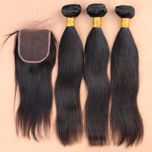 Slove 100% Malaysian Virgin Human Weave Hair Extensions Straight Natural Color Hair Weft Free Shipping Remy Hair Weave