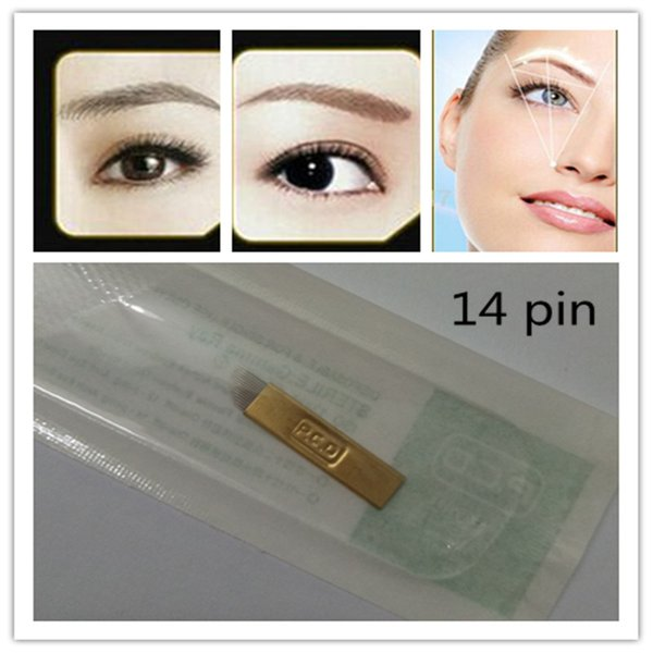 best selling 100 PCS PCD 14 Needles Bevel Permanent Makeup Eyebrow Blade For 3D Permanent Makeup Handmade Manual Tattoo Pen Cosmetic Eyebrows