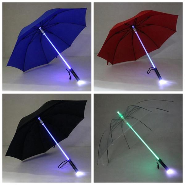 LED Light Rain Umbrella LED Light Flash Umbrella Light Saber Umbrella Safety Fun Blade Runner Night Protection 4 Colors OOA2581