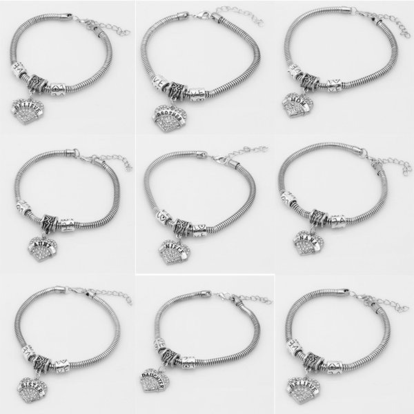 New Fashion Jewelry Womens Silver Family Members Believe Nana Niece Heart Crystal Chain Bracelet Bangle Link Chain Love Heart chain bracelet