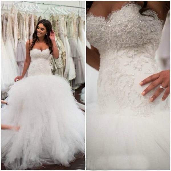 Vintage Mermaid 2016 Lace Wedding Dresses Tulle Elegant Bodice Formal Bridal Gowns With Sweetheart Neckline Trumpet Court Train Custom Made