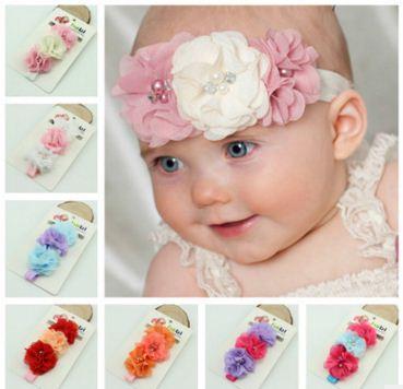 b131684cb405 Chiffon Flower Baby Hair Band Children Pearl Tiara Headband Colorful ...