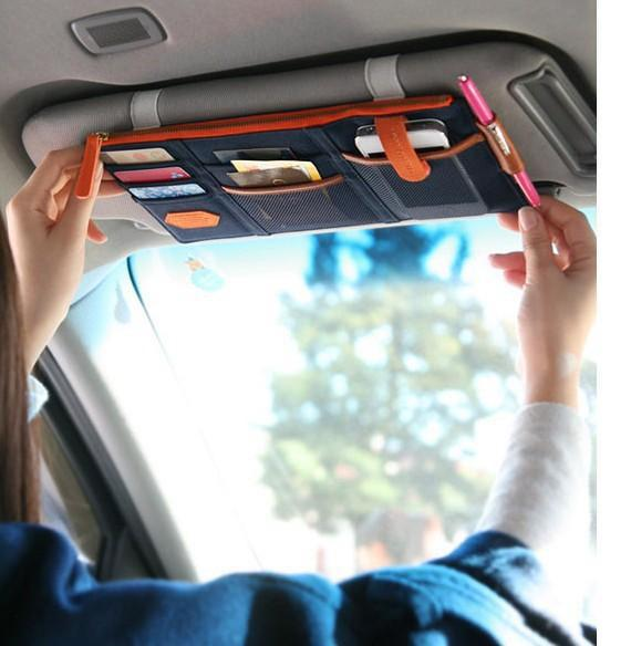 3 Color Car Sun Visor Storage Point Pocket Documents Organizer Bag Pouch Card Holder Credit Card Namecard pen