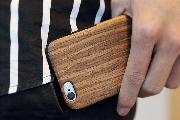 Accessoires de téléphone cas 2016 bois TPU téléphone cas Real Case en bois naturel couverture arrière pour Iphone 7
