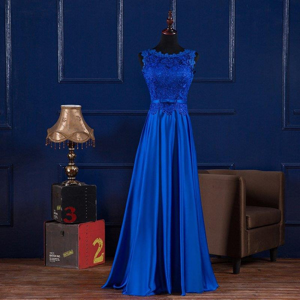 top popular Scoop Neck Lace Satin Evening Dresses Long Royal Blue Burgundy 2020 Floor Length Bridesmaid Dress Abendkleider 2020