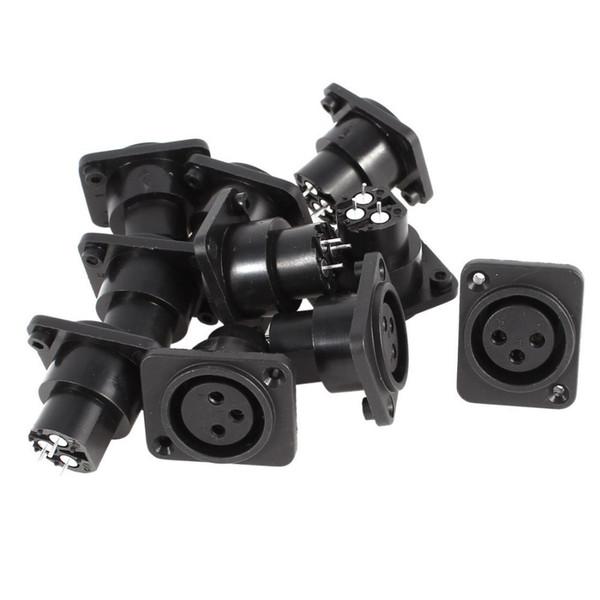 50pcs \ Lot 3 broches XLR Femelle Châssis Prise Panneau Montage Connecteur Adaptateur Noir
