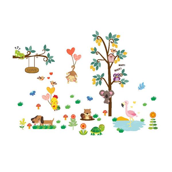 Cartoon Animals Monkey Bear Dog Owls Koala Chick Flamingo Trees Wall Stickers for Kids Room Nursery Decor Wallpaper Poster Art Wall Applique